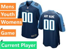 Mens Women Youth Nfl Tennessee Titans Navy Blue Game Current Player Jersey