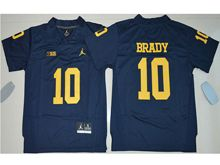 Youth Ncaa Nfl Jordan Brand Michigan Wolverines #10 Tom Brady Navy Blue Limited Jersey