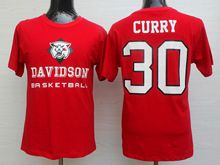 Mens Ncaa Nba Davidson Wildcat #30 Stephen Curry Red Jersey Short Sleeve