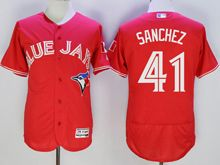 mens majestic toronto blue jays #41 aaron sanchez red Flex Base jersey