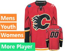 Mens Women Youth Reebok Calgary Flames Red Home Premier Current Player Jersey