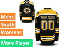 Mens Women Youth Reebok Boston Bruins Black Home Premier Current Player Jersey