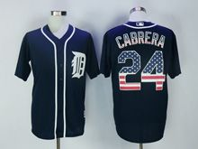 Mens Majestic Detroit Tigers #24 Miguel Cabrera Blue Usa Flag Jersey