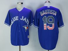 Mens Majestic Toronto Blue Jays #19 Jose Bautista Blue Usa Flag Jersey