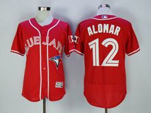 mens majestic toronto blue jays #12 roberto alomar red Flex Base jersey