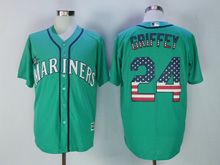 Mens Majestic Mlb Seattle Mariners #24 Ken Griffey Jr Green Usa Flag Jersey
