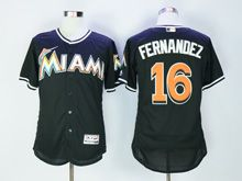 Mens Majestic Mlb Miami Marlins #16 Jose Fernandez Black Flex Base Jersey