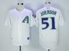 Mens Mlb Arizona Diamondbacks #51 Randy Johnson White Stripe 2001 Throwbacks Jersey