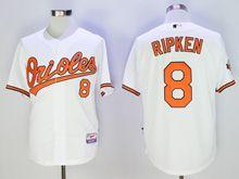 Mens Majestic Baltimore Orioles #8 Cal Ripken Jr White Cool Base Jersey