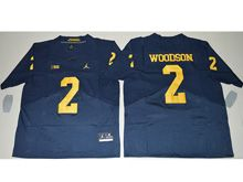 Mens Ncaa Nfl Michigan Wolverines #2 Charles Woodson Navy Blue Elite Jersey