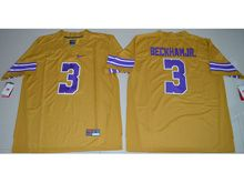 Mens Ncaa Nfl Lsu Tigers #3 Beckham Jr. Gold Limited Jersey