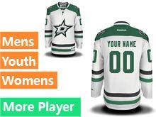 Mens Women Youth Reebok Dallas Stars White Away Premier Current Player Jersey