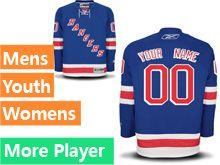 Mens Women Youth Reebok New York Rangers Blue Home Premier Current Player Jersey