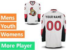 Mens Women Youth Reebok Ottawa Senators White Away Premier Current Player Jersey