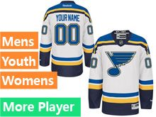 Mens Women Youth Reebok St.louis Blues White Away Premier Current Player Jersey