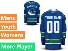 Mens Women Youth Reebok Vancouver Canucks Blue Home Premier Current Player Jersey