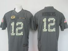 Mens Nfl Green Bay Packers #12 Aaron Rodgers Black Anthracite 2016 Salute To Service Jersey