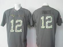 Mens   New England Patriots #12 Tom Brady Black Anthracite 2016 Salute To Service Jersey