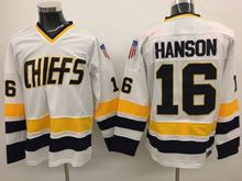 Mens Slap Shot Charlestown Chiefs #16 Jack Hanson White Movie Hockey Jersey