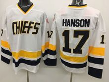 Mens Slap Shot Charlestown Chiefs #17 Steve Hanson White Movie Hockey Jersey