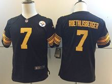 Youth   Nfl Pittsburgh Steelers #7 Ben Roethlisberger Black Color Rush Limited Jersey