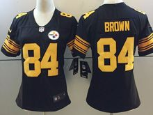 Women   Nfl Pittsburgh Steelers #84 Antonio Brown Black Color Rush Limited Jersey