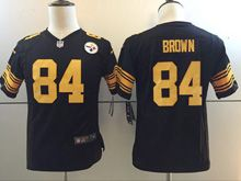Youth   Nfl Pittsburgh Steelers #84 Antonio Brown Black Color Rush Limited Jersey