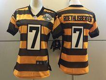 Women Nfl Pittsburgh Steelers #7 Roethlisberger Black Yellow 80th Game Jersey