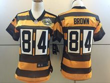 Women Nfl Pittsburgh Steelers #84 Antonio Brown Black Yellow 80th Game Jersey
