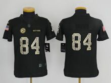 Youth   Nfl Pittsburgh Steelers #84 Antonio Brown Black 2016 Salute To Service Jersey