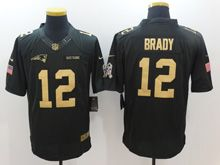 Mens   New England Patriots #12 Tom Brady Black Gold Number 2016 Christmas Salute To Service Jersey