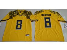Mens Ncaa Nfl Oregon Ducks #8 Marcus Mariota Yellow Color Rush Limited Jersey