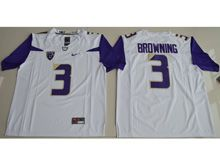 Mens Ncaa Nfl Washington Huskies #3 Jake Browning White Limited Jersey