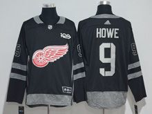 Mens Nhl Detroit Red Wings #9 Howe Black 100 Anniversary Adidas Jersey