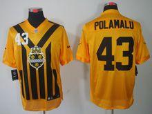 Mens   Nfl Pittsburgh Steelers #43 Polamalu Yellow 1933 Classics Jersey