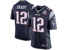 Mens New England Patriots #12 Tom Brady Navy Blue Super Bowl Li Bound Game Jersey