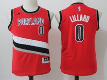 Youth Nba Portland Trail Blazers #0 Damian Lillard Red Jersey