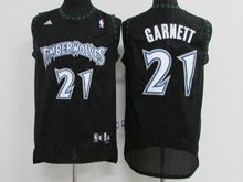 Mens Adidas Nba Minnesota Timberwolves #21 Kevin Garnett Black Throwbacks Jersey