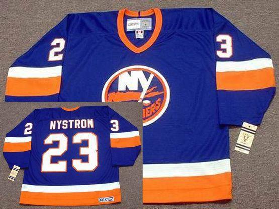 Mens Nhl New York Islanders #23 Bob Nystrom Blue 1982 Ccm Vintage Throwback Jersey