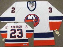 Mens Nhl New York Islanders #23 Bob Nystrom White 1982 Ccm Vintage Throwback Jersey