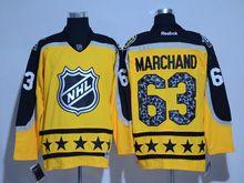 Mens Reebok Boston Bruins #63 Brad Marchand Yellow 2017 All Star Hockey Jersey