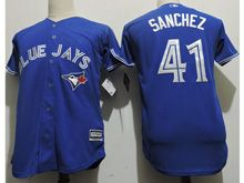 Youth Majestic Mlb Toronto Blue Jays #41 Aaron Sanchez Blue Cool Base Jersey