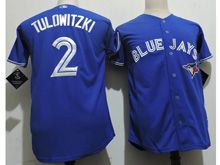 Youth Majestic Mlb Toronto Blue Jays #2 Troy Tulowitzki Blue Cool Base Jersey