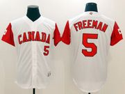 Mens Mlb Canada Team 2017 Baseball World Cup #5 Freeman White Jersey
