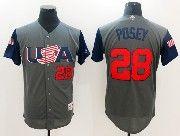 Mens Mlb Usa Team 2017 Baseball World Cup #28 Posey Grey Jersey