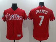 Mens Majestic Philadelphia Phillies #7 Maikel Franco Red 2017 Spring Training Flex Base Jersey