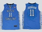 Mens Ncaa Nba North Carolina #11 Johnson Blue Jersey