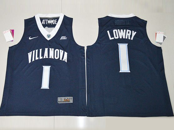 Mens Ncaa Nba Villanova Wildcats #1 Lowry Navy Blue Jersey