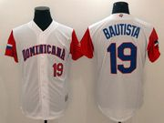 Mens Mlb Dominicana Team 2017 Baseball World Cup #19 Bautista White Jersey
