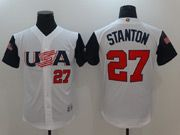 Mens Mlb Usa Team 2017 Baseball World Cup #27 Stanton White Jersey